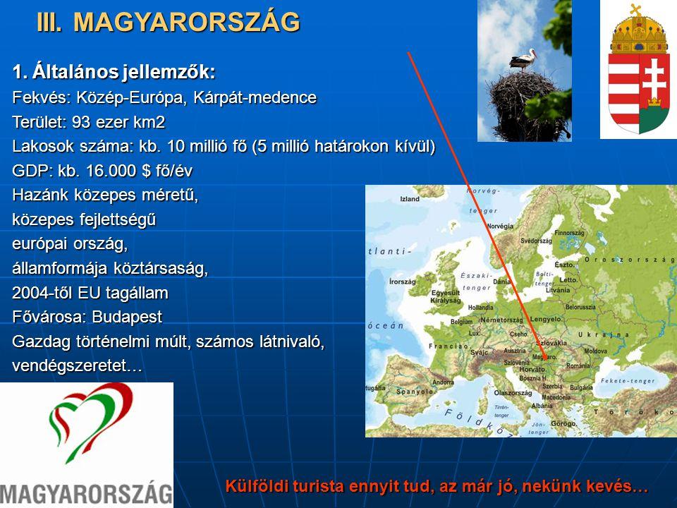 Külföldi turista ennyit tud, az már jó, nekünk kevés… 1. Általános jellemzők: Fekvés: Közép-Európa, Kárpát-medence Terület: 93 ezer km2 Lakosok száma:
