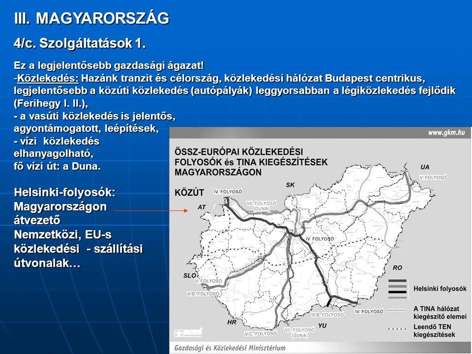 III. MAGYARORSZÁG 4/c. Szolgáltatások 1. Ez a legjelentősebb gazdasági ágazat! -Közlekedés: Hazánk tranzit és célország, közlekedési hálózat Budapest