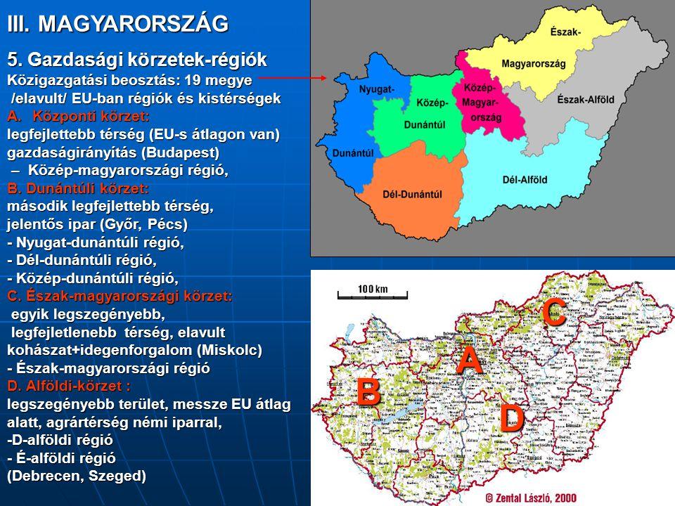 III. MAGYARORSZÁG 5. Gazdasági körzetek-régiók Közigazgatási beosztás: 19 megye /elavult/ EU-ban régiók és kistérségek /elavult/ EU-ban régiók és kist