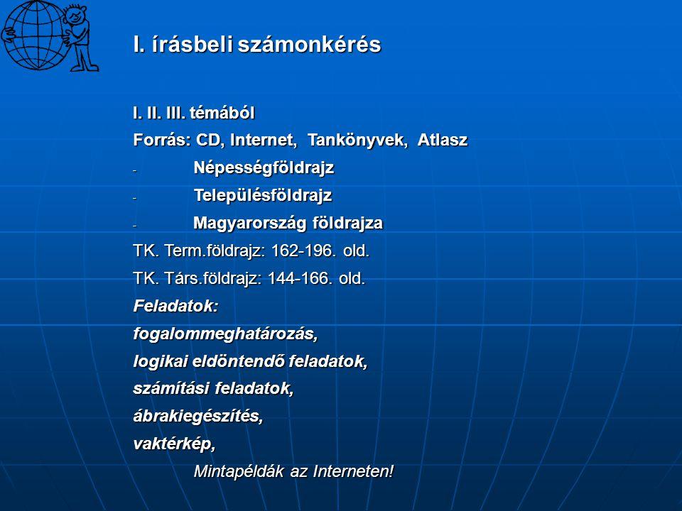 I. írásbeli számonkérés I. II. III. témából Forrás: CD, Internet, Tankönyvek, Atlasz - Népességföldrajz - Településföldrajz - Magyarország földrajza T