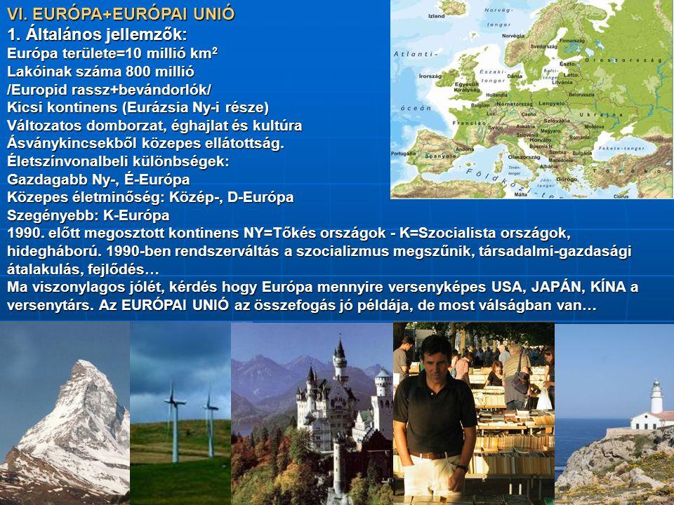 VI. EURÓPA+EURÓPAI UNIÓ 1. Általános jellemzők: Európa területe=10 millió km 2 Lakóinak száma 800 millió /Europid rassz+bevándorlók/ Kicsi kontinens (