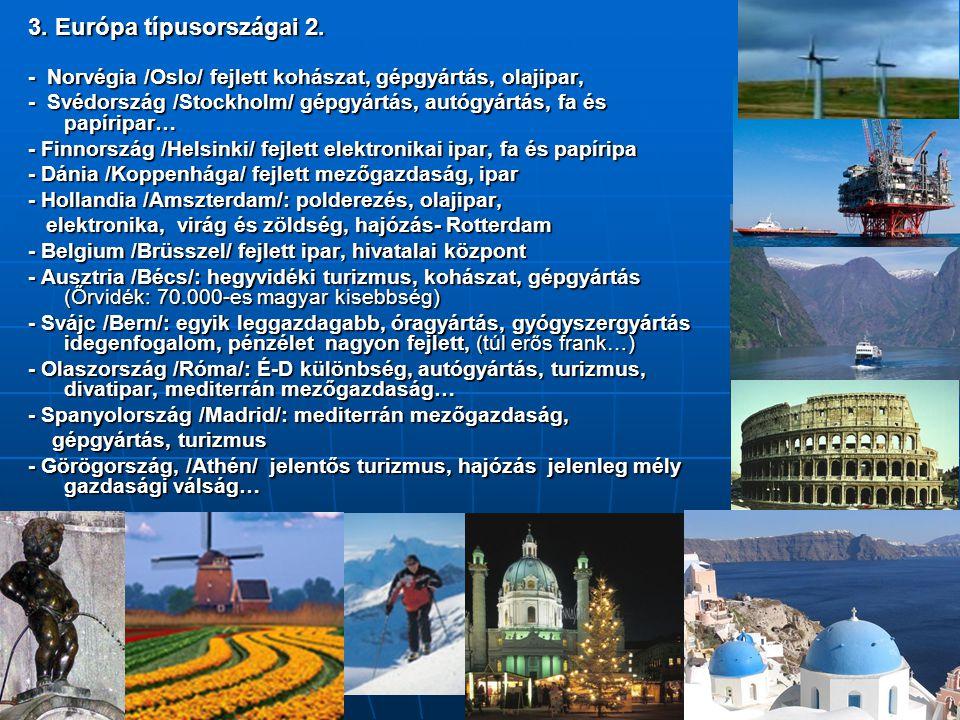 3. Európa típusországai 2. - Norvégia /Oslo/ fejlett kohászat, gépgyártás, olajipar, - Svédország /Stockholm/ gépgyártás, autógyártás, fa és papíripar