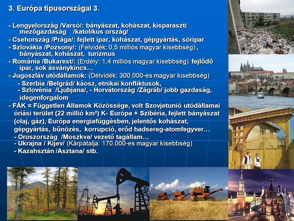 3. Európa típusországai 3. - Lengyelország /Varsó/: bányászat, kohászat, kisparaszti mezőgazdaság /katolikus ország/ - Csehország /Prága/: fejlett ipa