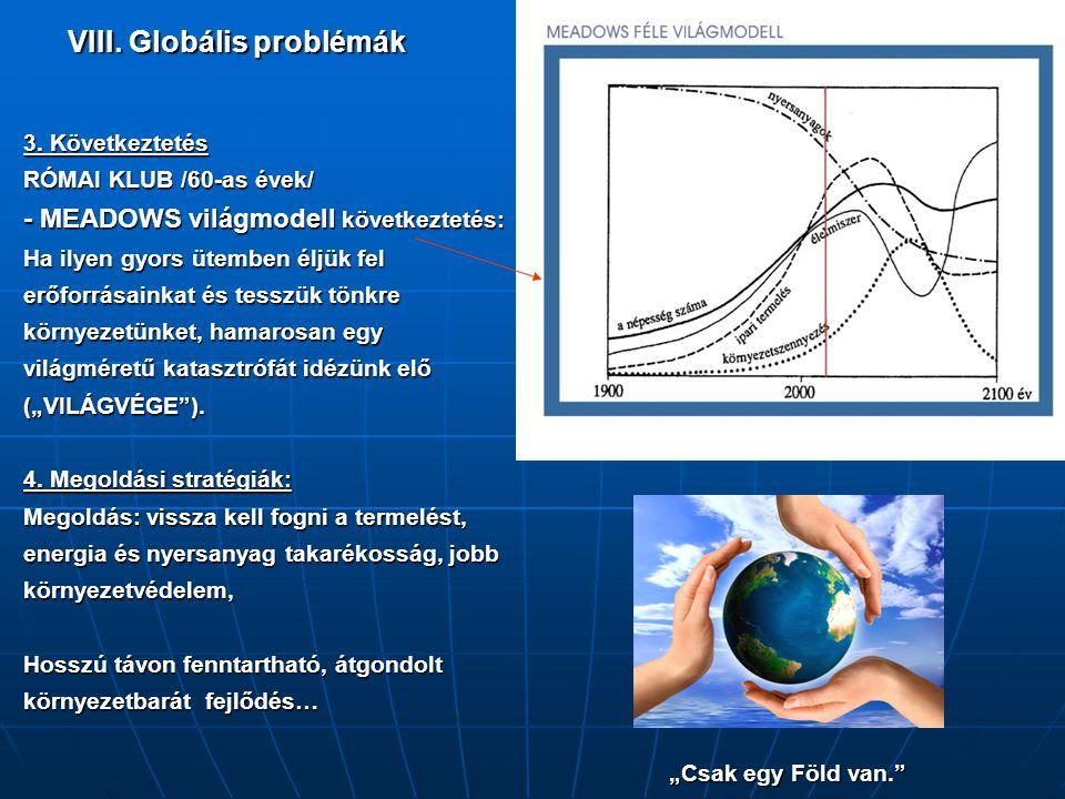 VIII. Globális problémák 3. Következtetés RÓMAI KLUB /60-as évek/ - MEADOWS világmodell következtetés: Ha ilyen gyors ütemben éljük fel erőforrásainka