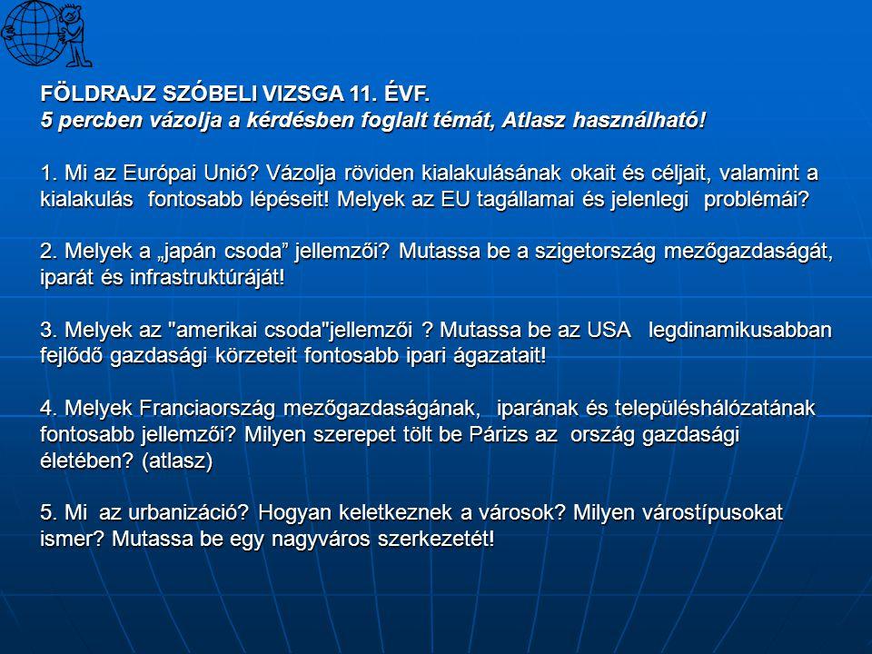 FÖLDRAJZ SZÓBELI VIZSGA 11. ÉVF. 5 percben vázolja a kérdésben foglalt témát, Atlasz használható! 1. Mi az Európai Unió? Vázolja röviden kialakulásána