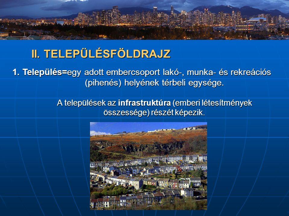 II. TELEPÜLÉSFÖLDRAJZ 1. Település=egy adott embercsoport lakó-, munka- és rekreációs (pihenés) helyének térbeli egysége. A települések az infrastrukt