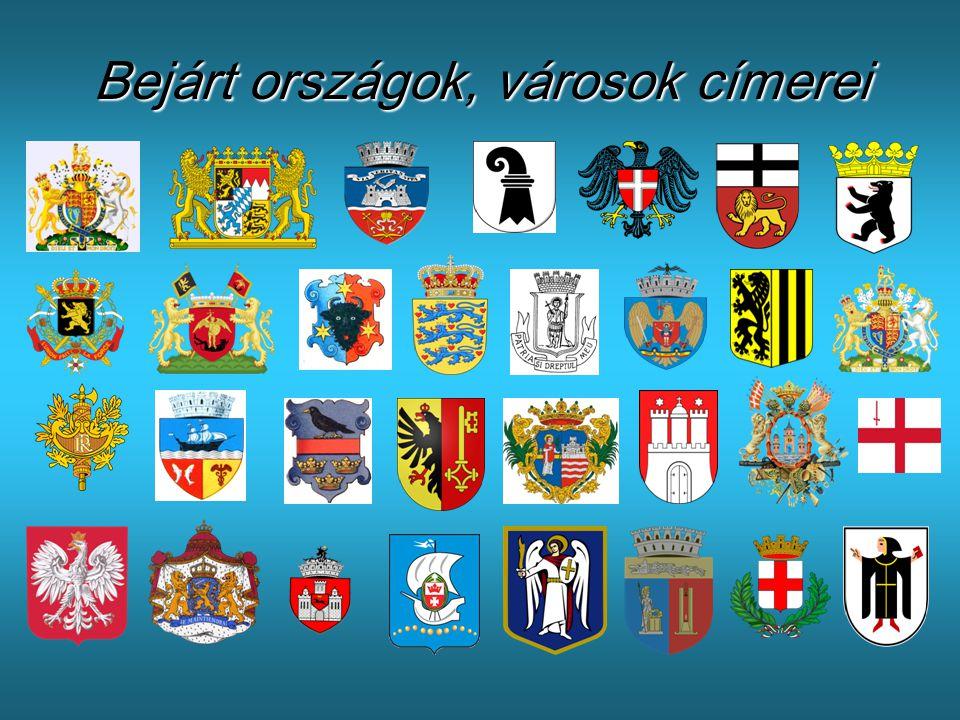 Bejárt országok, városok címerei