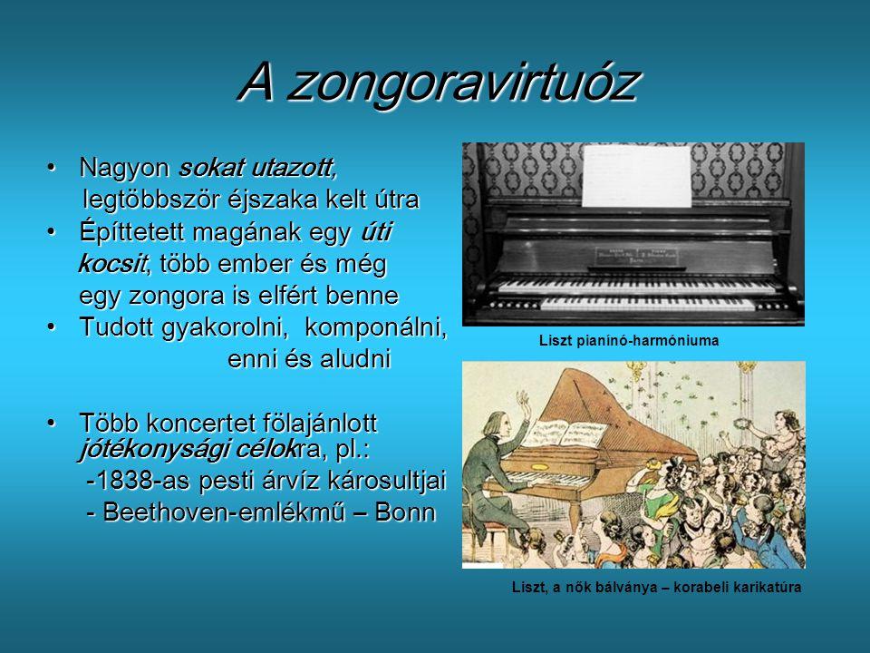 A zongoravirtuóz •N•N•N•Nagyon sokat utazott, legtöbbször éjszaka kelt útra •É•É•É•Építtetett magának egy úti kocsit, több ember és még egy zongora is