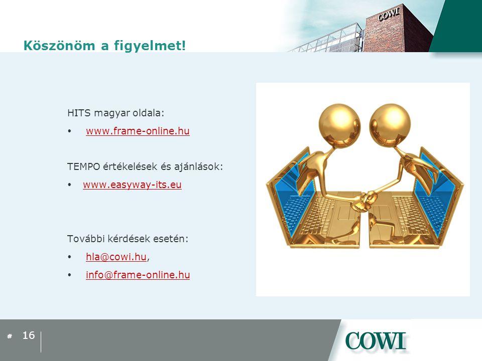 # Köszönöm a figyelmet! HITS magyar oldala:  www.frame-online.huwww.frame-online.hu TEMPO értékelések és ajánlások:  www.easyway-its.eu www.easyway-