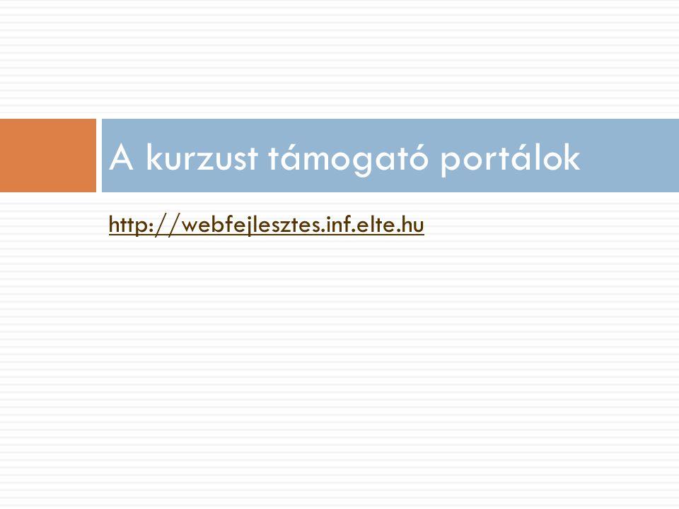 http://webfejlesztes.inf.elte.hu A kurzust támogató portálok