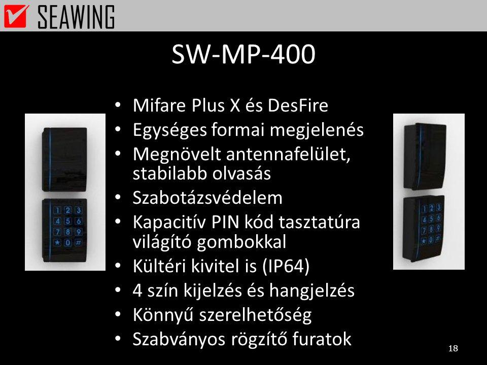 SW-MP-400 18 • Mifare Plus X és DesFire • Egységes formai megjelenés • Megnövelt antennafelület, stabilabb olvasás • Szabotázsvédelem • Kapacitív PIN