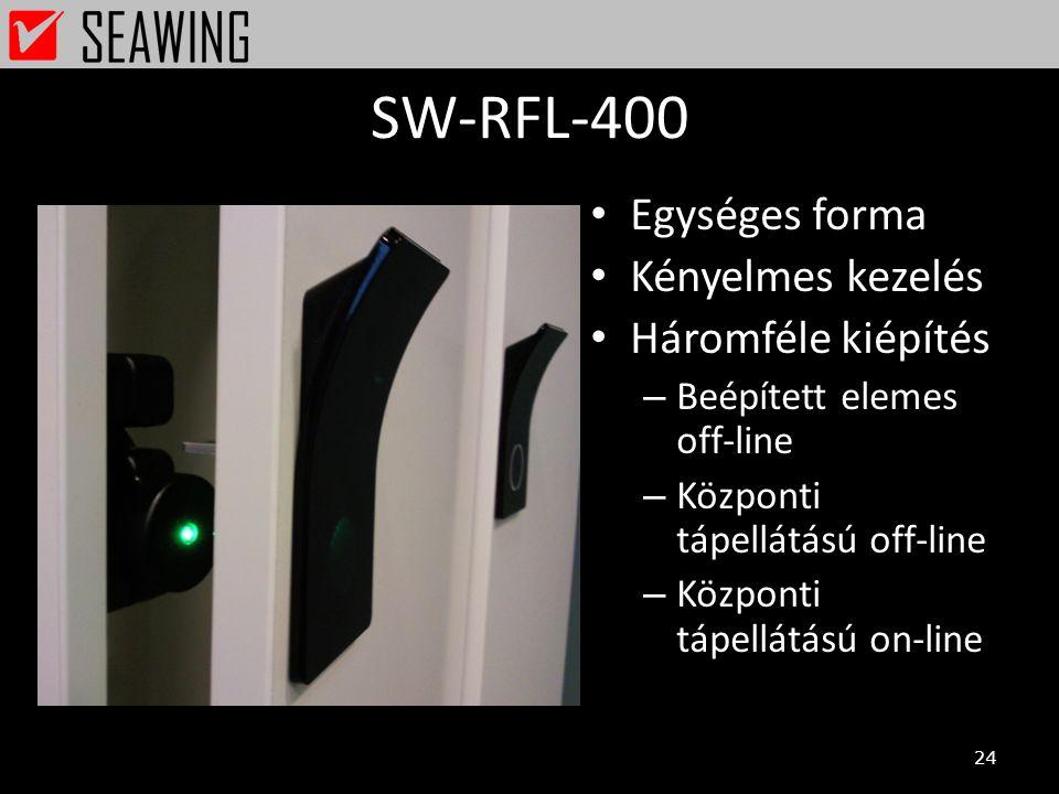 SW-RFL-400 • Egységes forma • Kényelmes kezelés • Háromféle kiépítés – Beépített elemes off-line – Központi tápellátású off-line – Központi tápellátás