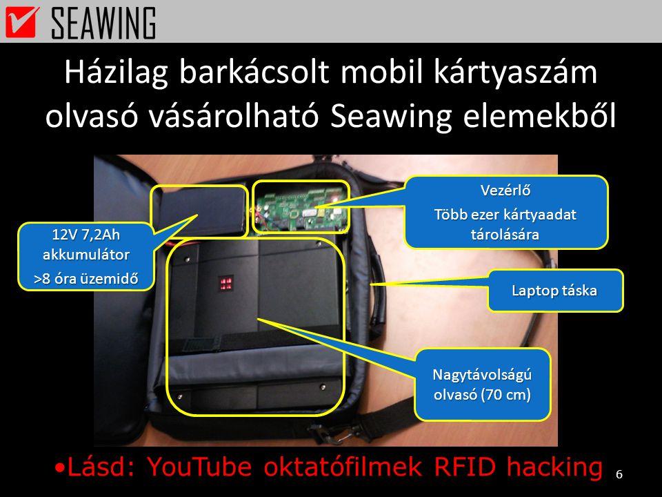Házilag barkácsolt mobil kártyaszám olvasó vásárolható Seawing elemekből 6 Laptop táska 12V 7,2Ah akkumulátor >8 óra üzemidő Vezérlő Több ezer kártyaa