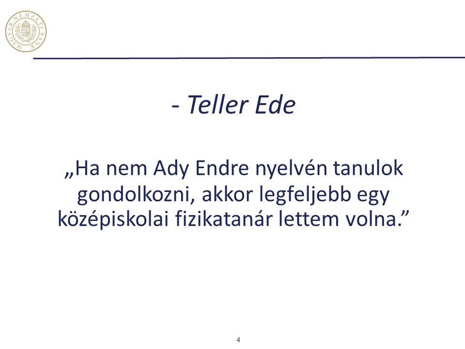 """- Teller Ede """" Ha nem Ady Endre nyelvén tanulok gondolkozni, akkor legfeljebb egy középiskolai fizikatanár lettem volna."""" 4"""