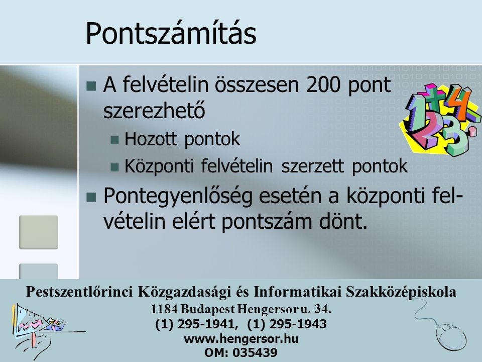 Pestszentlőrinci Közgazdasági és Informatikai Szakközépiskola 1184 Budapest Hengersor u. 34. (1) 295-1941, (1) 295-1943 www.hengersor.hu OM: 035439 Po