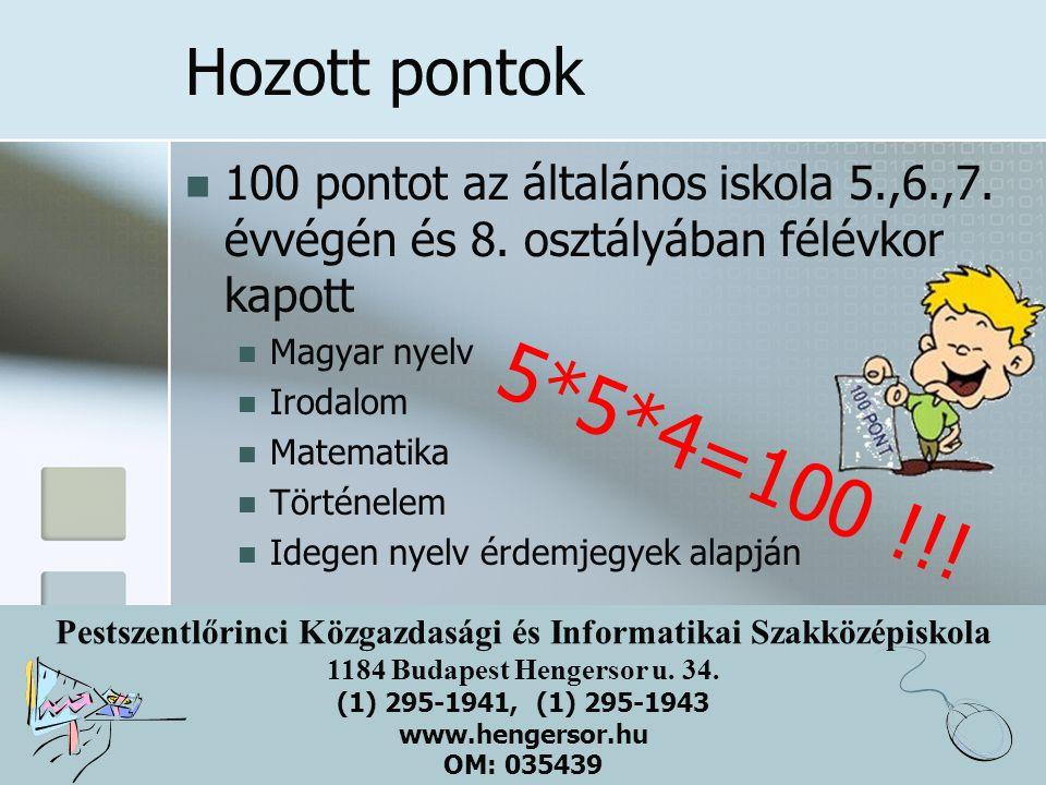 Pestszentlőrinci Közgazdasági és Informatikai Szakközépiskola 1184 Budapest Hengersor u. 34. (1) 295-1941, (1) 295-1943 www.hengersor.hu OM: 035439 Ho