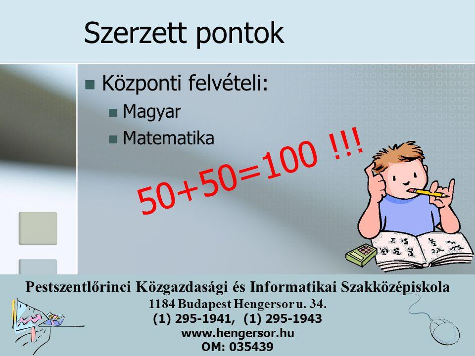 Pestszentlőrinci Közgazdasági és Informatikai Szakközépiskola 1184 Budapest Hengersor u. 34. (1) 295-1941, (1) 295-1943 www.hengersor.hu OM: 035439 Sz