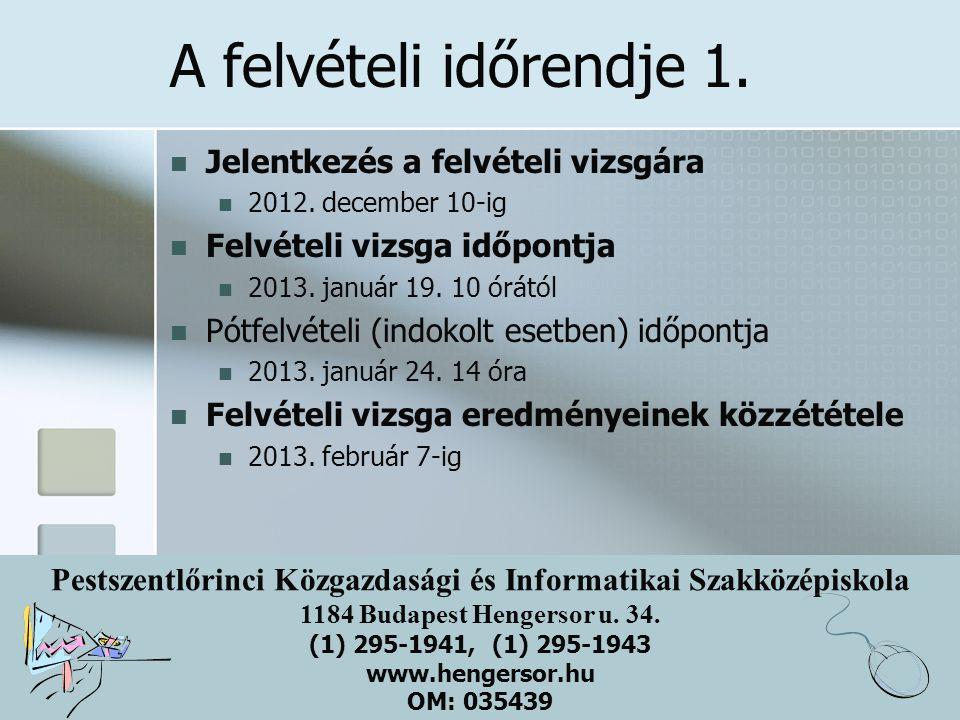 Pestszentlőrinci Közgazdasági és Informatikai Szakközépiskola 1184 Budapest Hengersor u. 34. (1) 295-1941, (1) 295-1943 www.hengersor.hu OM: 035439 A