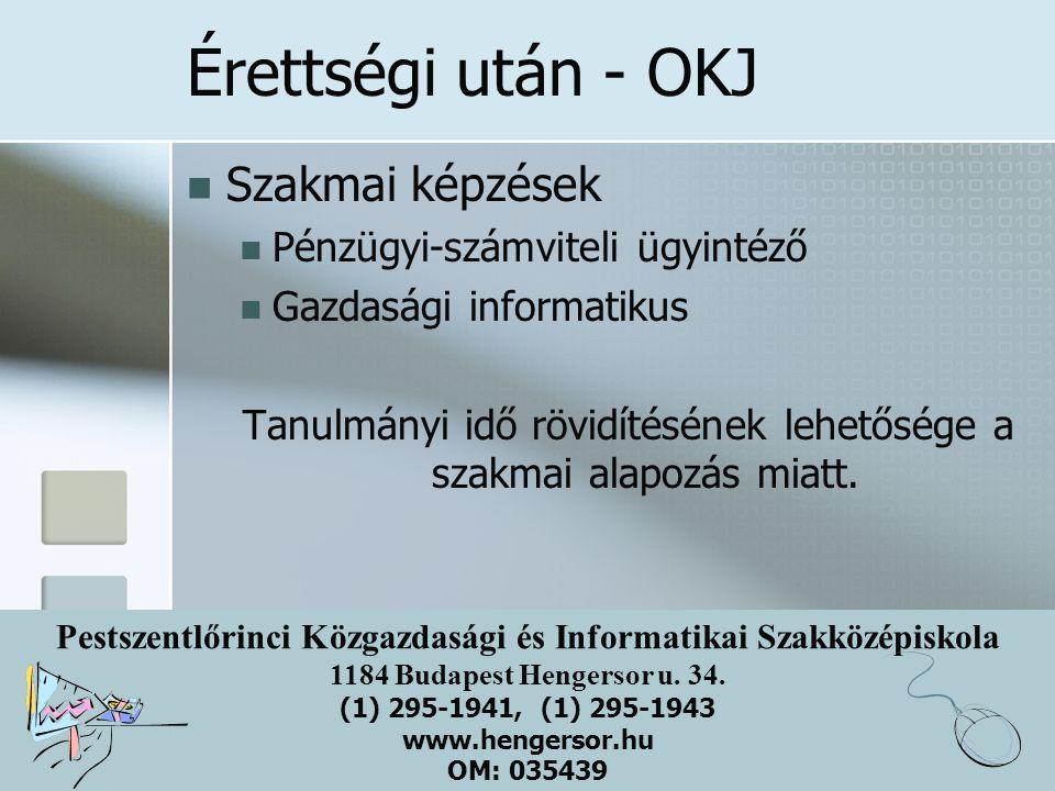Pestszentlőrinci Közgazdasági és Informatikai Szakközépiskola 1184 Budapest Hengersor u. 34. (1) 295-1941, (1) 295-1943 www.hengersor.hu OM: 035439 Ér
