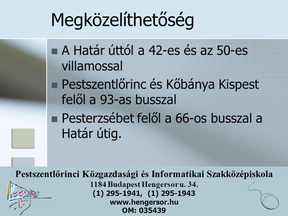 Pestszentlőrinci Közgazdasági és Informatikai Szakközépiskola 1184 Budapest Hengersor u. 34. (1) 295-1941, (1) 295-1943 www.hengersor.hu OM: 035439 Me