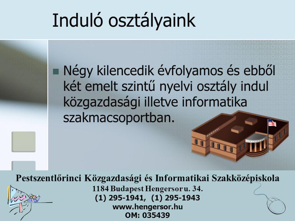 Pestszentlőrinci Közgazdasági és Informatikai Szakközépiskola 1184 Budapest Hengersor u. 34. (1) 295-1941, (1) 295-1943 www.hengersor.hu OM: 035439 In