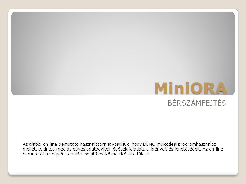 MiniORA BÉRSZÁMFEJTÉS Az alábbi on-line bemutató használatára javasoljuk, hogy DEMO működési programhasználat mellett tekintse meg az egyes adatbevite