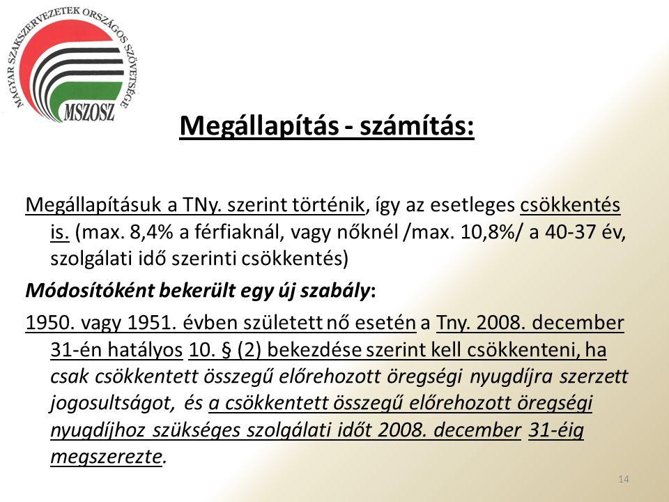 Megállapítás - számítás: Megállapításuk a TNy. szerint történik, így az esetleges csökkentés is. (max. 8,4% a férfiaknál, vagy nőknél /max. 10,8%/ a 4