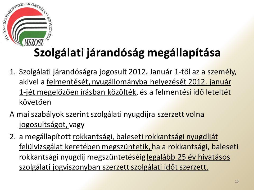 Szolgálati járandóság megállapítása 1. Szolgálati járandóságra jogosult 2012. Január 1-től az a személy, akivel a felmentését, nyugállományba helyezés