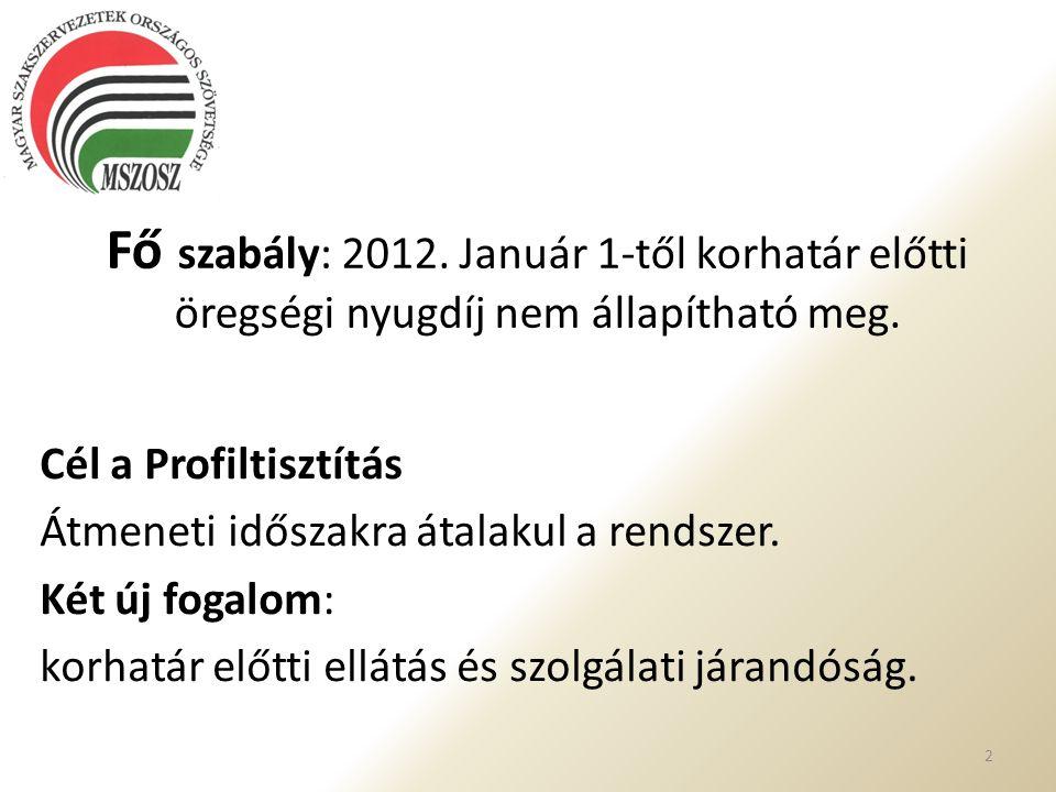 Fő szabály: 2012. Január 1-től korhatár előtti öregségi nyugdíj nem állapítható meg. Cél a Profiltisztítás Átmeneti időszakra átalakul a rendszer. Két