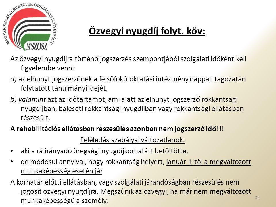 Özvegyi nyugdíj folyt. köv: 32 Az özvegyi nyugdíjra történő jogszerzés szempontjából szolgálati időként kell figyelembe venni: a) az elhunyt jogszerző