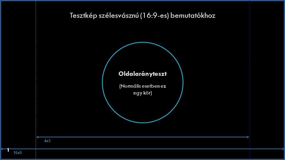 Tesztkép szélesvásznú (16:9-es) bemutatókhoz Oldalarányteszt (Normális esetben ez egy kör) 16x9 4x3 1