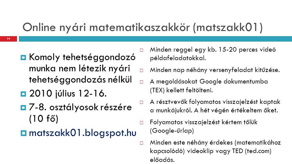 Online nyári matematikaszakkör (matszakk01)  Komoly tehetséggondozó munka nem létezik nyári tehetséggondozás nélkül  2010 július 12-16.  7-8. osztá