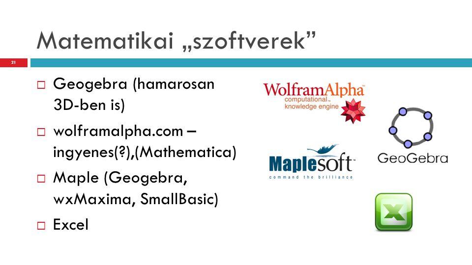 "Matematikai ""szoftverek""  Geogebra (hamarosan 3D-ben is)  wolframalpha.com – ingyenes(?),(Mathematica)  Maple (Geogebra, wxMaxima, SmallBasic)  Ex"