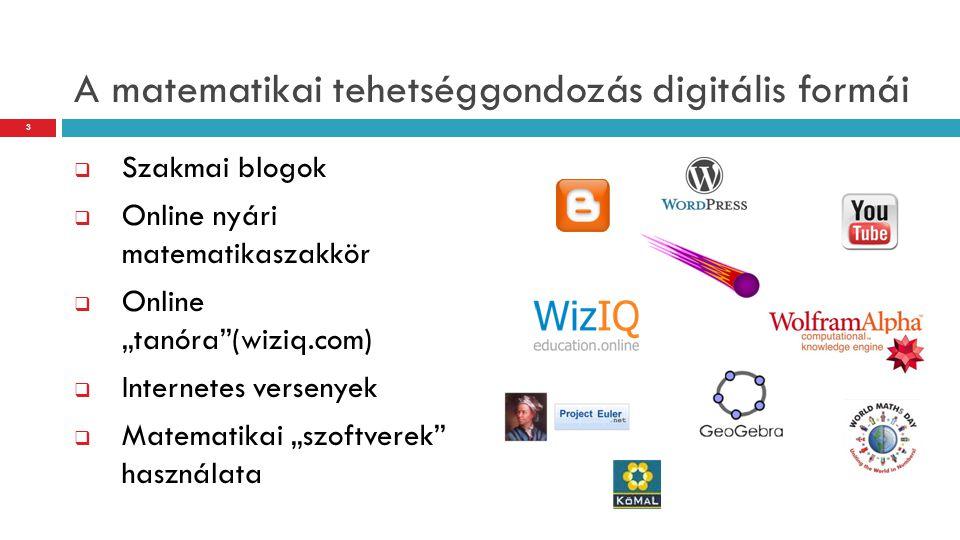 """A matematikai tehetséggondozás digitális formái  Szakmai blogok  Online nyári matematikaszakkör  Online """"tanóra""""(wiziq.com)  Internetes versenyek"""