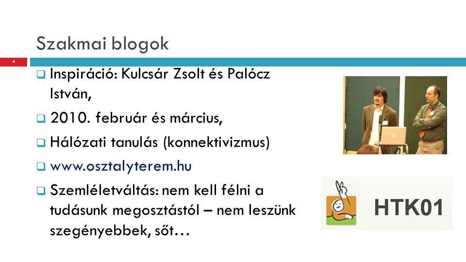 Szakmai blogok  Inspiráció: Kulcsár Zsolt és Palócz István,  2010. február és március,  Hálózati tanulás (konnektivizmus)  www.osztalyterem.hu  S