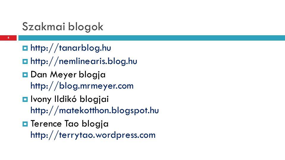 Szakmai blogok  http://tanarblog.hu  http://nemlinearis.blog.hu  Dan Meyer blogja http://blog.mrmeyer.com  Ivony Ildikó blogjai http://matekotthon