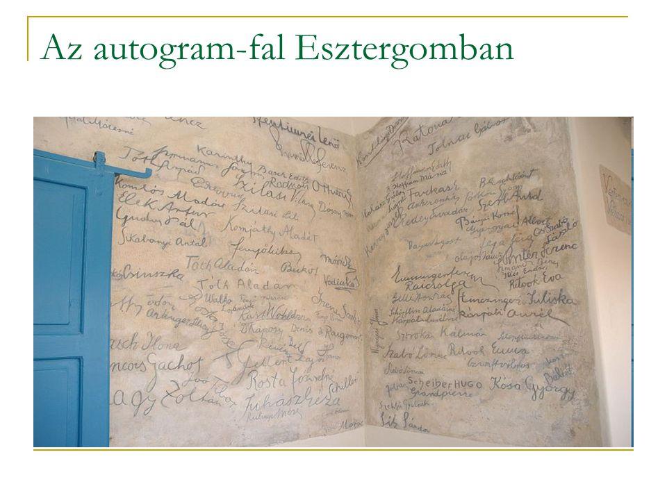 Az autogram-fal Esztergomban