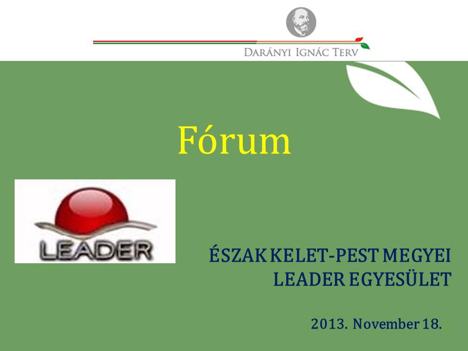 2013. November 18. ÉSZAK KELET-PEST MEGYEI LEADER EGYESÜLET Fórum