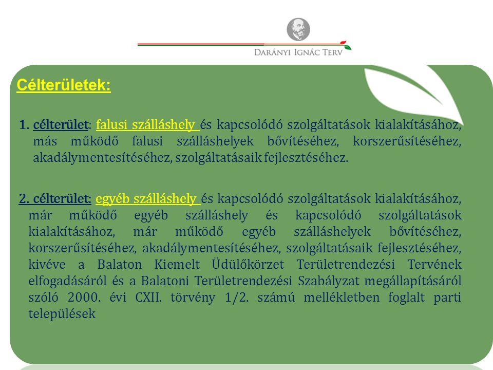 Célterületek: 1.célterület: falusi szálláshely és kapcsolódó szolgáltatások kialakításához, más működő falusi szálláshelyek bővítéséhez, korszerűsítéséhez, akadálymentesítéséhez, szolgáltatásaik fejlesztéséhez.