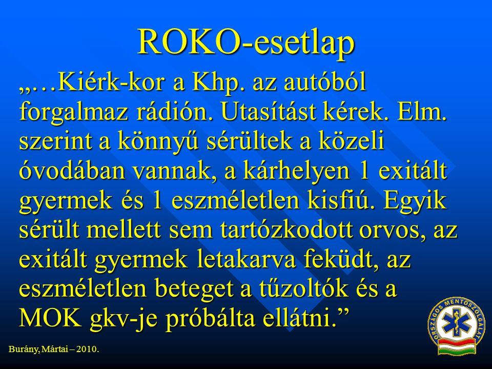 """Burány, Mártai – 2010.ROKO-esetlap """"…Kiérk-kor a Khp."""