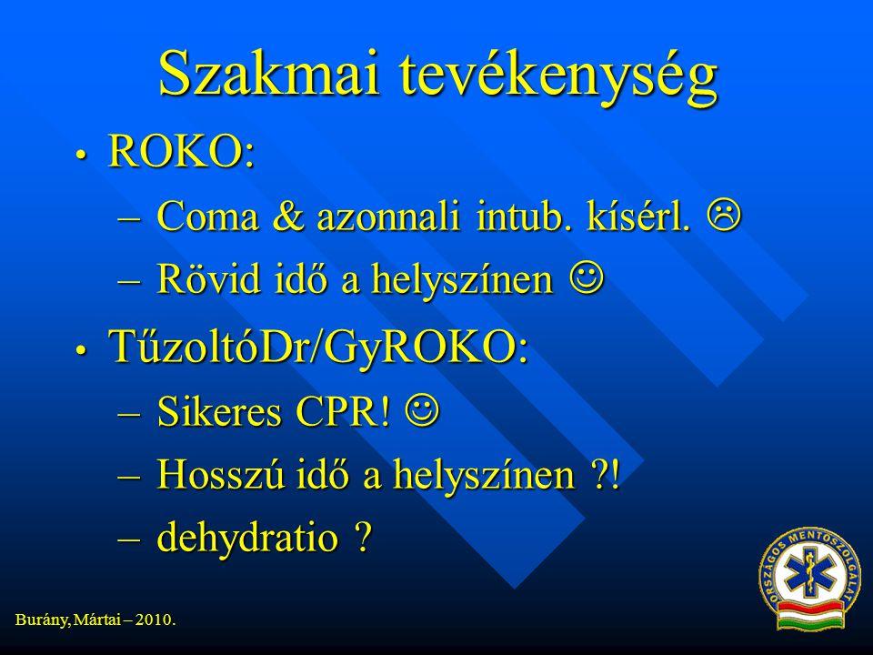 Burány, Mártai – 2010.Szakmai tevékenység • ROKO: – Coma & azonnali intub.