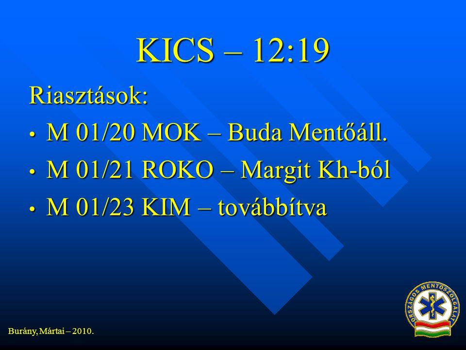 Burány, Mártai – 2010.KICS – 12:19 Riasztások: • M 01/20 MOK – Buda Mentőáll.