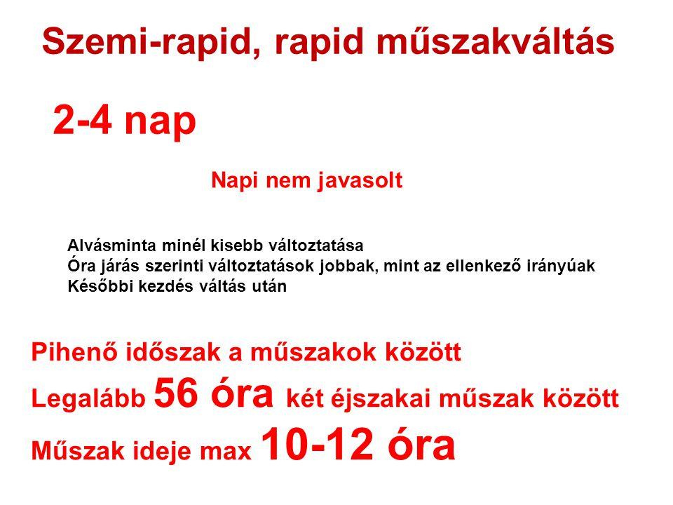 Szemi-rapid, rapid műszakváltás 2-4 nap Napi nem javasolt Alvásminta minél kisebb változtatása Óra járás szerinti változtatások jobbak, mint az ellenk