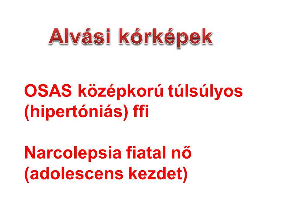 OSAS középkorú túlsúlyos (hipertóniás) ffi Narcolepsia fiatal nő (adolescens kezdet)