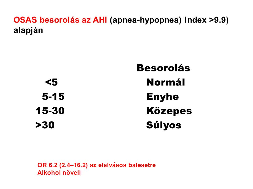 OSAS besorolás az AHI (apnea-hypopnea) index >9.9) alapján Besorolás <5 Normál 5-15 Enyhe 15-30 Közepes >30 Súlyos OR 6.2 (2.4–16.2) az elalvásos balesetre Alkohol növeli