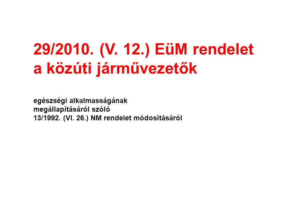 29/2010. (V. 12.) EüM rendelet a közúti járművezetők egészségi alkalmasságának megállapításáról szóló 13/1992. (VI. 26.) NM rendelet módosításáról