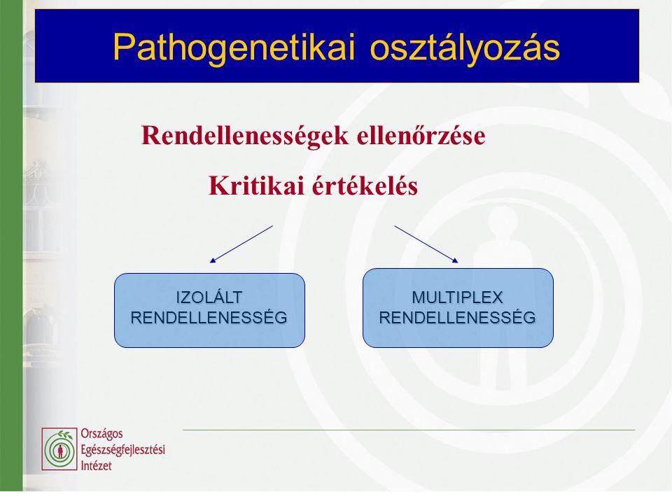 Rendellenességek ellenőrzése Kritikai értékelés Pathogenetikai osztályozás IZOLÁLT RENDELLENESSÉG MULTIPLEX RENDELLENESSÉG