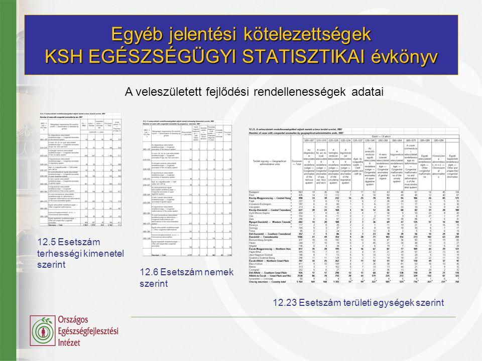 Egyéb jelentési kötelezettségek WHO-HFA OECD jelentés BNO-10 Q főcsoportú rendellenességek Spina bifida Nagyartériák teljes transpositiójaesetszáma Végtagredukciók1990-től Down-szindróma