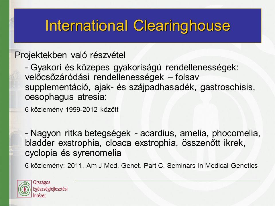 2001 óta a DGSanco's Rare Diseases and Public Health Programmes tagja - veleszületett rendellenességek anonim adatbázisa - azonos software használata - központi feldolgozás - az adatminőség központi kontrollja Évente kétszer adatküldés Konferenciákon való részvétel Projektekben való részvétel EUROCAT 27th EUROCAT Registry Leaders' meeting , Budapest, 2012.