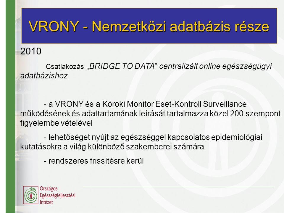 """2010 Csatlakozás """"BRIDGE TO DATA"""" centralizált online egészségügyi adatbázishoz - a VRONY és a Kóroki Monitor Eset-Kontroll Surveillance működésének é"""